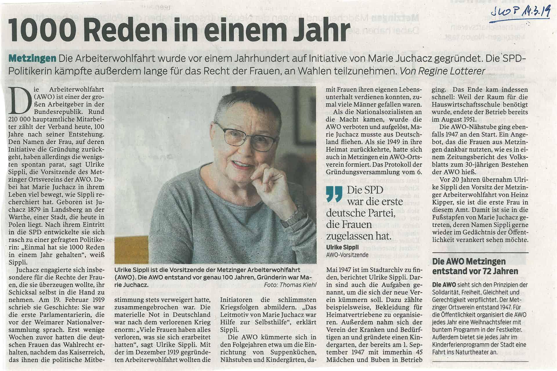 Pressemeldung über die AWO Metzingen